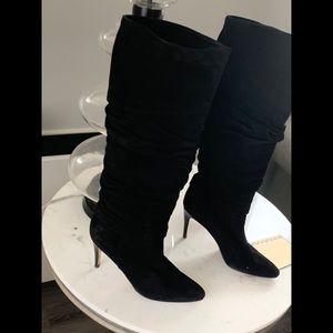 Manolo Blahnik Black Suede High Boots